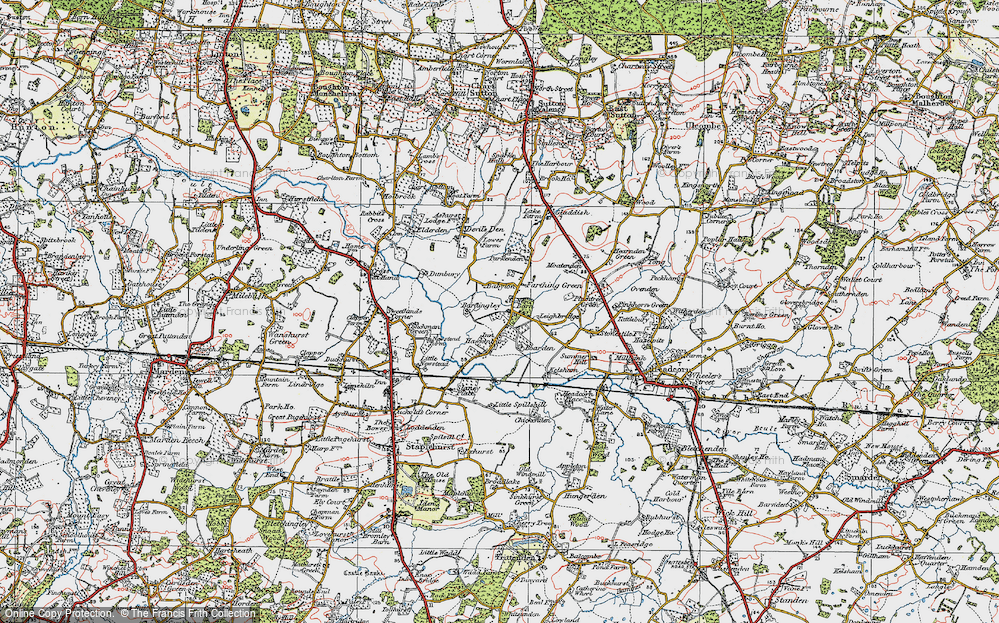 Old Map of Historic Map covering Bardingley in 1921
