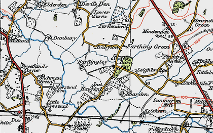 Old map of Bardingley in 1921