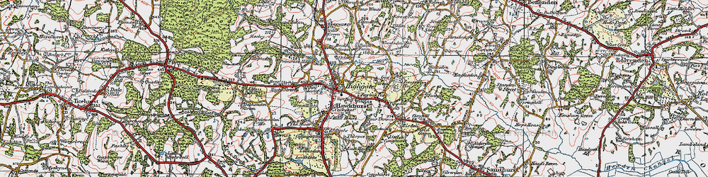 Old map of Hawkhurst in 1921