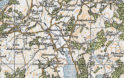 Old map of Hawkshead in 1925
