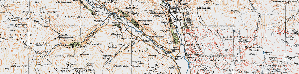 Old map of Wharfedale in 1925