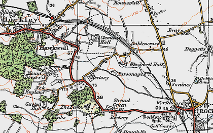 Old map of Hawkwell in 1921