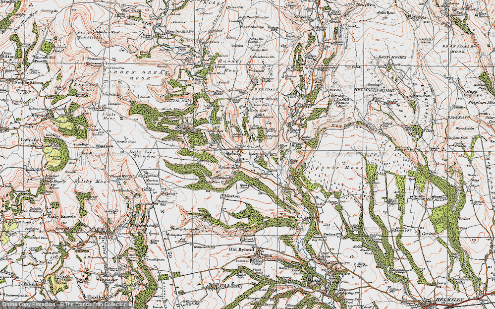 Old Map of Historic Map covering Timber Holme in 1925