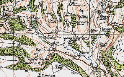 Old map of Woolhouse Croft in 1925
