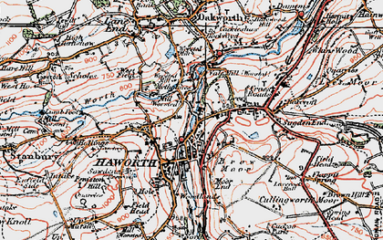 Old map of Haworth in 1925
