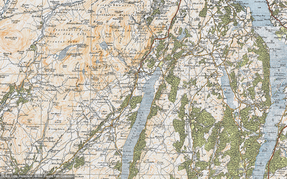 Old Map of Historic Map covering Bank Ground in 1925