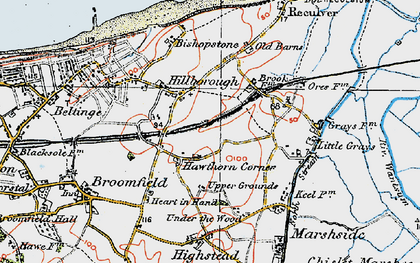 Old map of Hawthorn Corner in 1920