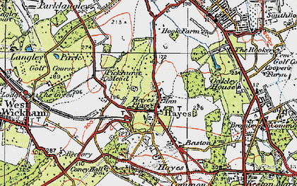 Old map of Hayes in 1920