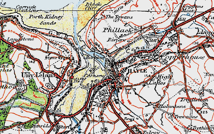 Old map of Hayle in 1919