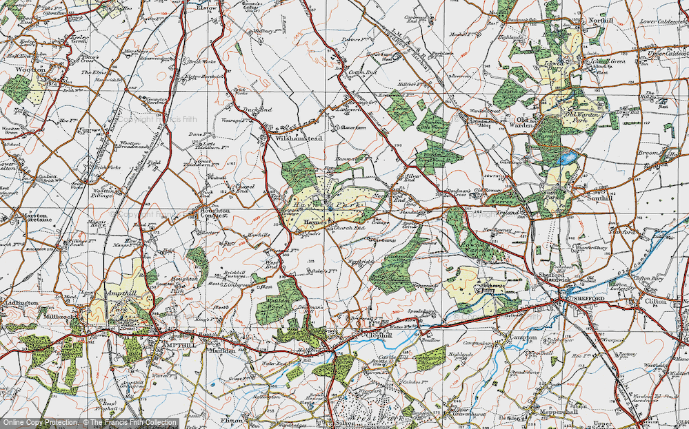 Old Map of Historic Map covering Bedfordshire in 1919
