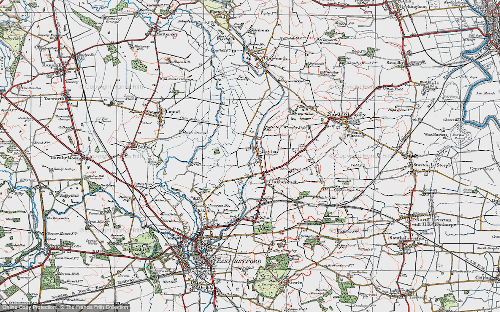 Old Map of Historic Map covering Tiln in 1923