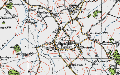 Old map of Hazelbury Bryan in 1919