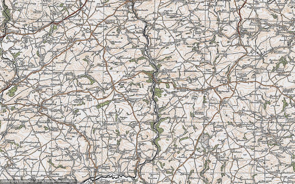 Old Map of Historic Map covering Gara Bridge in 1919