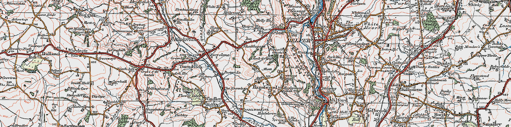 Old map of Windley Meadows in 1921