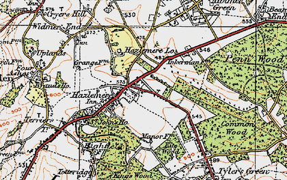 Old map of Hazlemere in 1919