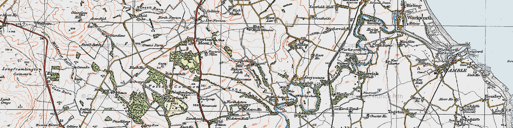 Old map of Acton Ho in 1925