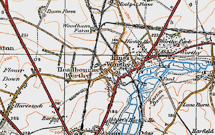 Old map of Headbourne Worthy in 1919
