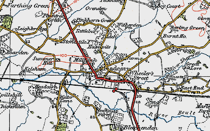 Old map of Headcorn in 1921
