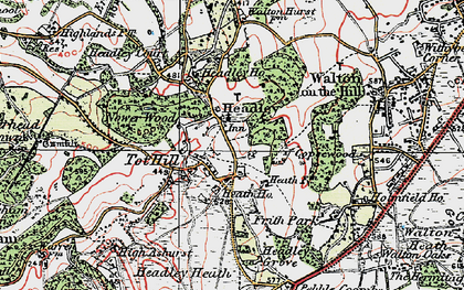 Old map of Headley in 1920