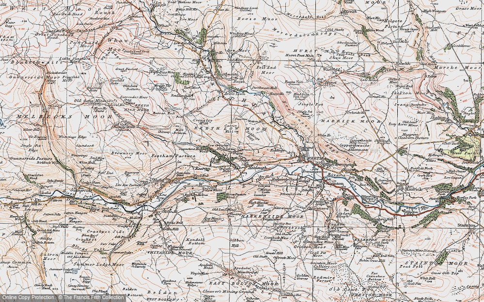Old Map of Healaugh, 1925 in 1925