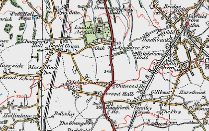 Old map of Heald Green in 1923
