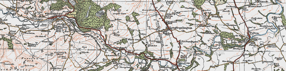 Old map of West Raw in 1925