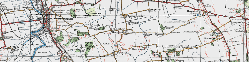 Old map of Willoughton Wood in 1923