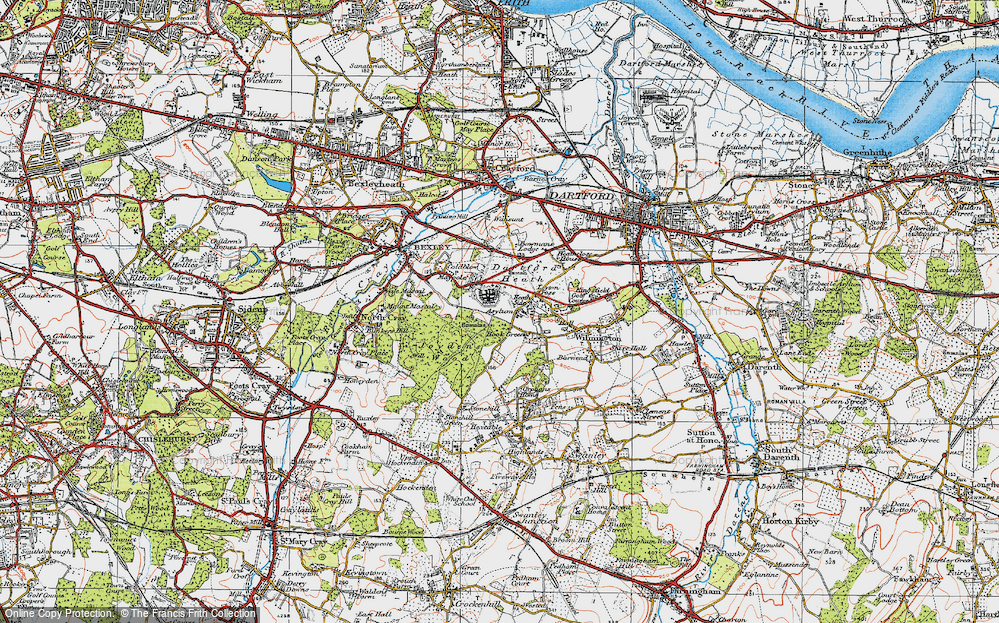 Old Map of Historic Map covering Leyton Cross in 1920