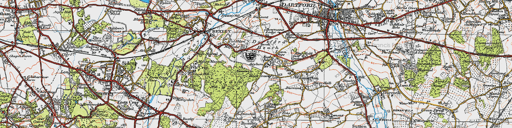 Old map of Leyton Cross in 1920