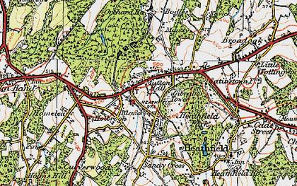Old map of Heathfield in 1920