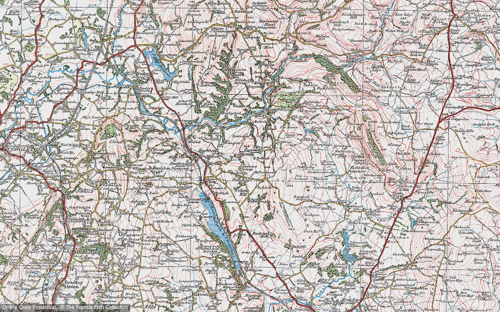 Old Map of Historic Map covering Axstones Spring in 1923