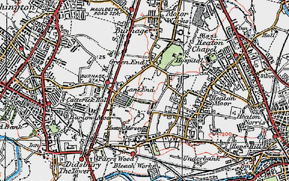 Old map of Heaton Mersey in 1923
