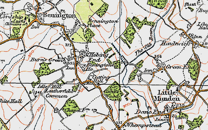 Old map of Hebing End in 1919
