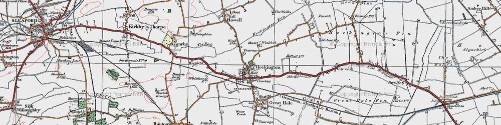 Old map of Winkhill in 1922