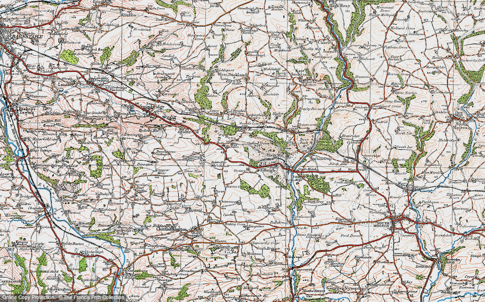 Old Map of Historic Map covering Leary Moors in 1919