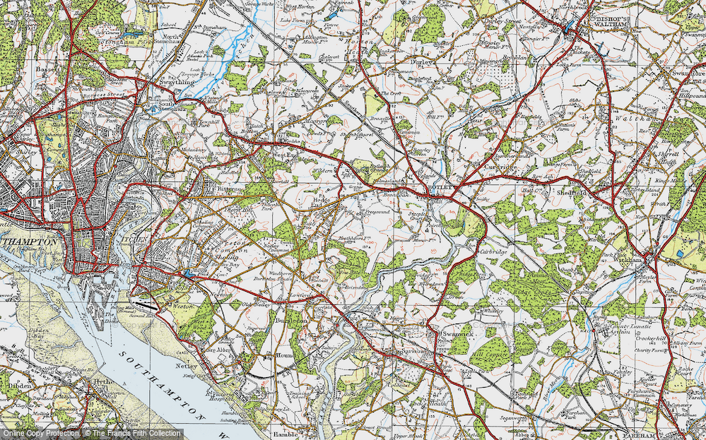 Old Map of Hedge End, 1919 in 1919