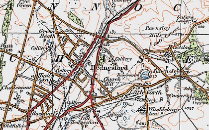 Old map of Hednesford in 1921