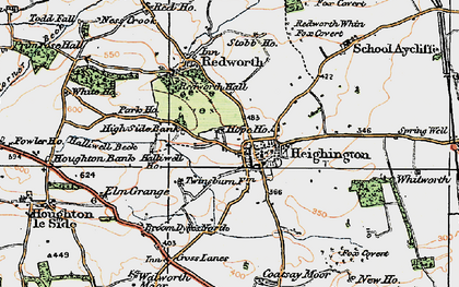Old map of Heighington in 1925