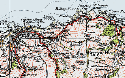 Old map of Hele in 1919