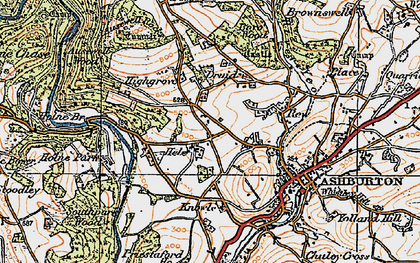 Old map of Ausewell Rocks in 1919