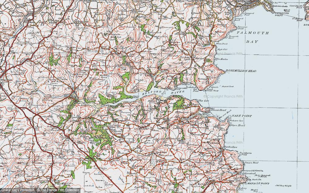 Old Map of Helford, 1919 in 1919