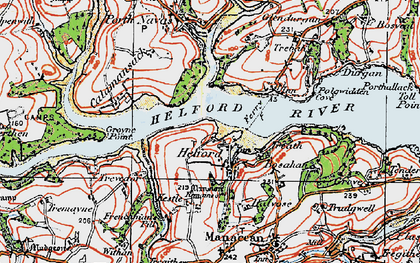 Old map of Helford in 1919