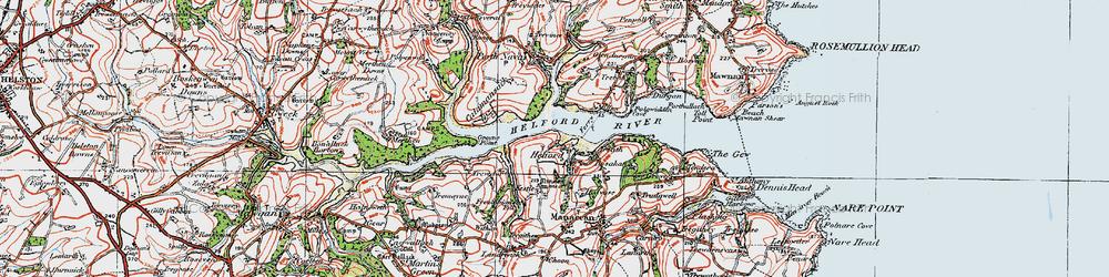 Old map of Helford in 1919