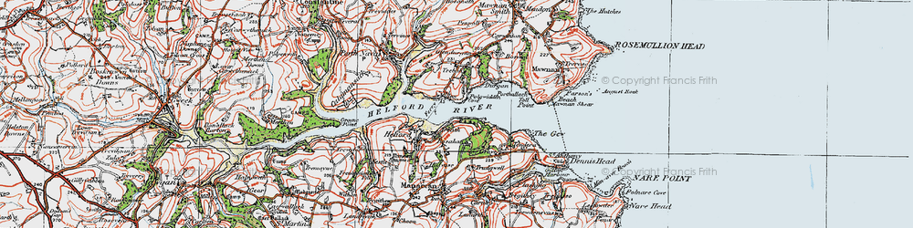Old map of Helford Passage in 1919
