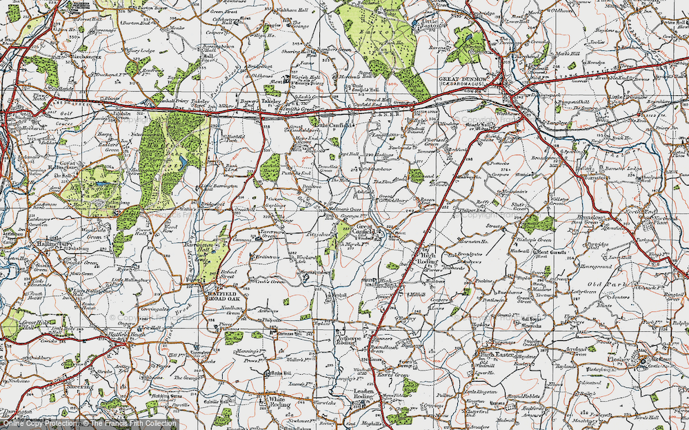 Old Map of Historic Map covering Woolard's Ash in 1919
