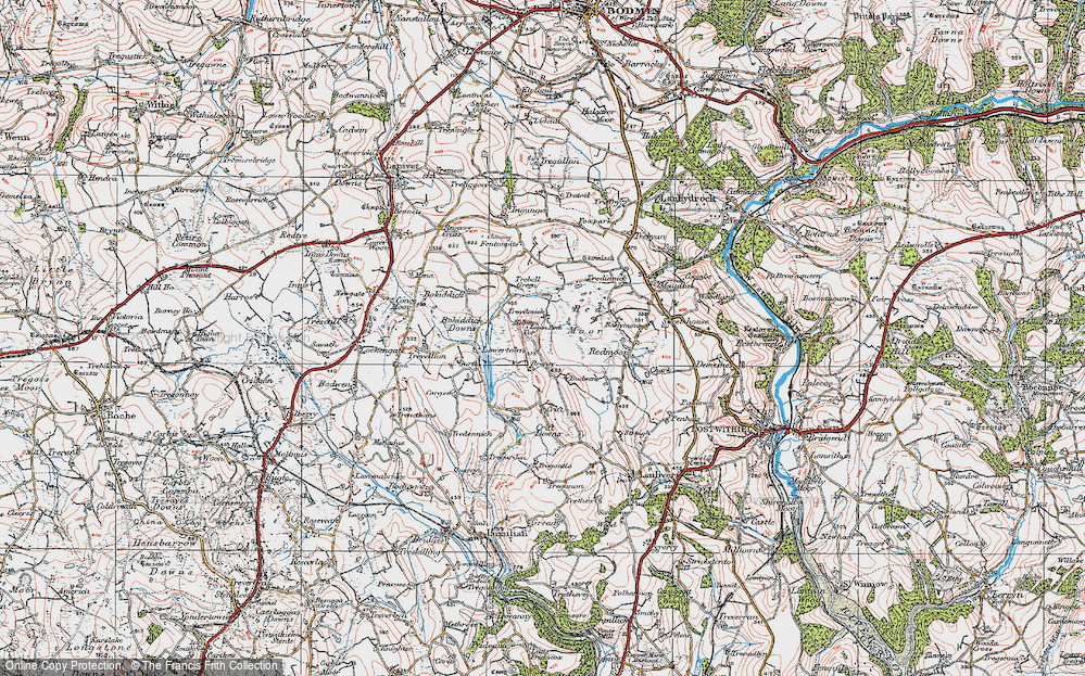 Old Map of Historic Map covering Helmen Tor in 1919