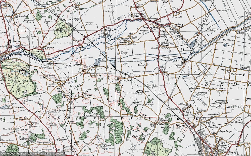 Old Map of Historic Map covering Woodcroft Castle in 1922