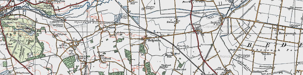 Old map of Helpston in 1922