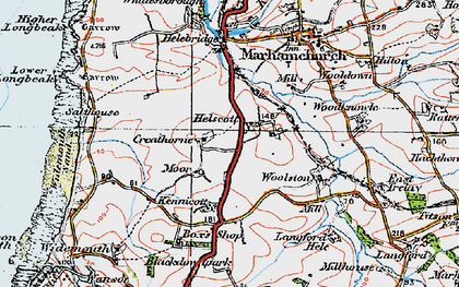 Old map of Helscott in 1919