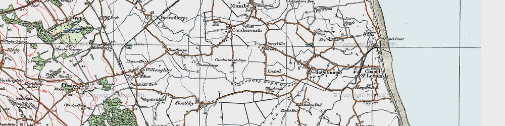 Old map of Willoughby High Drain in 1923